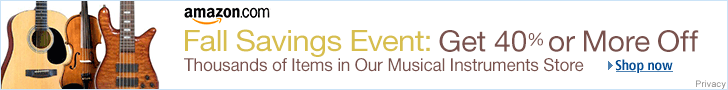 Ad: Get 40% or more off musical instruments this fall