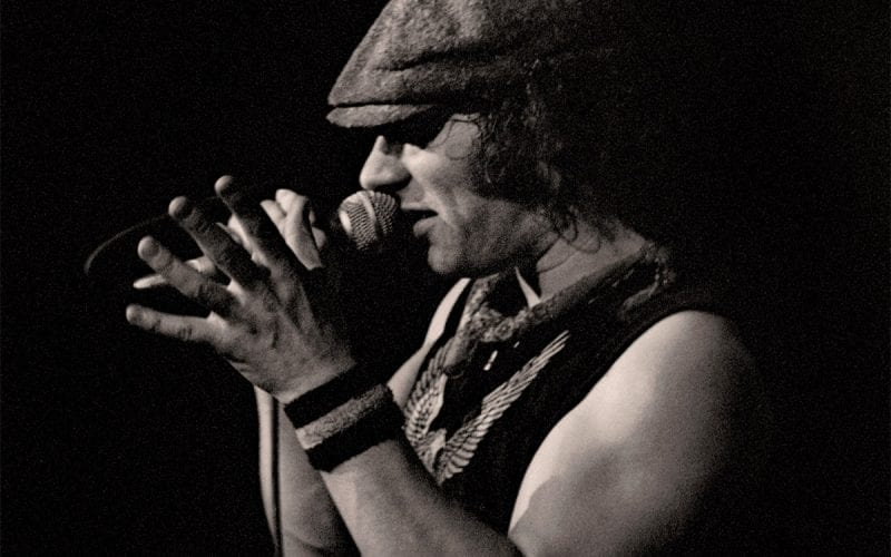 Brian Johnson performs with AC/DC in 1982