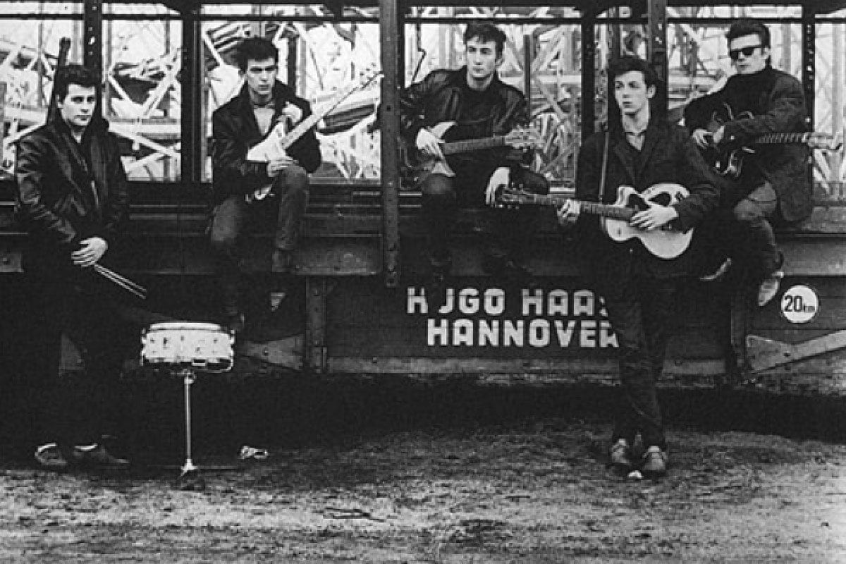 Early Beatles publicity photo with Stuart Sutcliffe