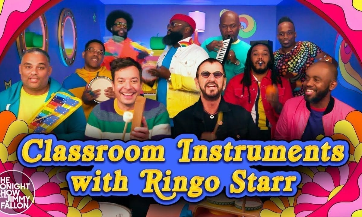 Ringo Starr, Jimmy Fallon and The Roots perform Yellow Submarine on classroom instruments