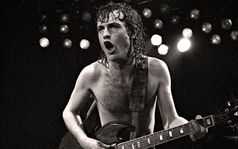 Angus Young with AC/DC in 1982