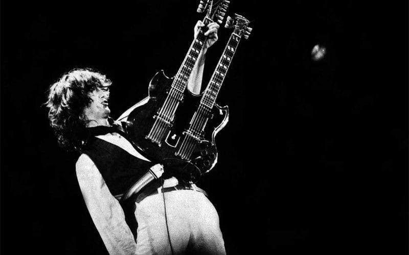 Jimmy Page performing with Led Zeeppelin in 1983
